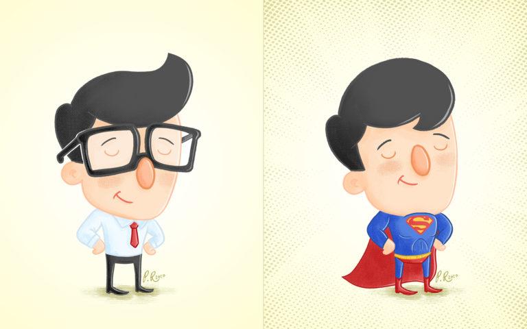 clark kent and superman cartoon