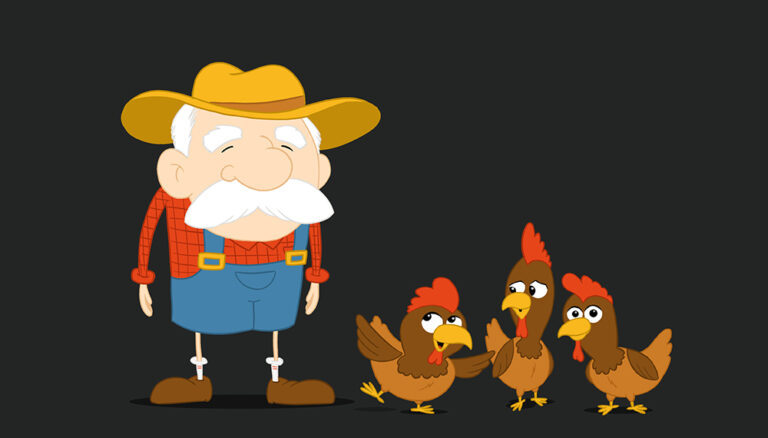 farmer and three chickens