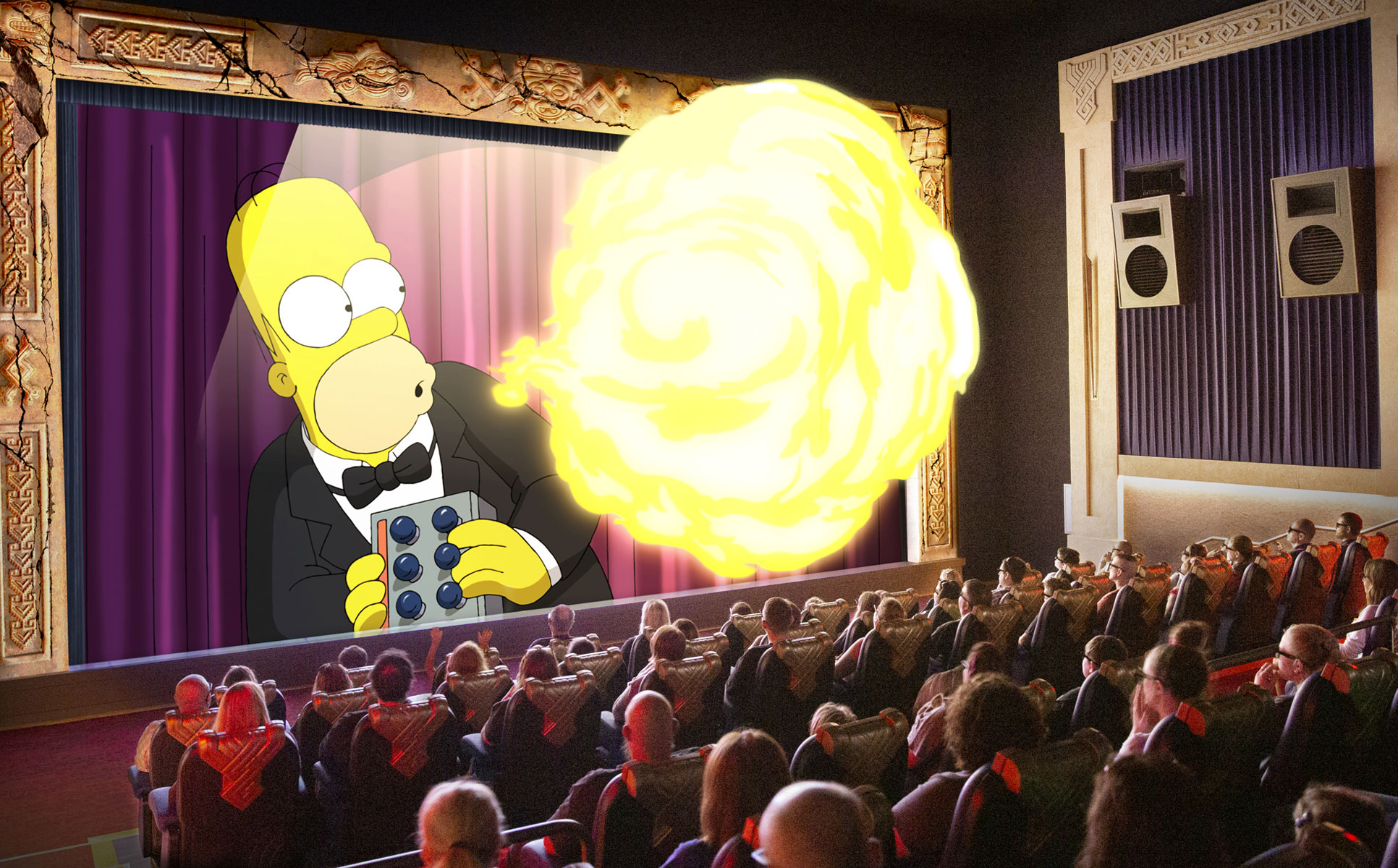 homer dodging a fireball on the screen of the theater